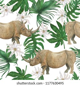 Watercolor painting floral seamless pattern with rhinoceros and tropical leaves, flowers