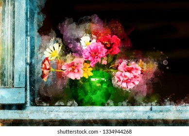 Watercolor painting flowers in Chinese pottery on the old window