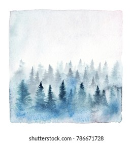 Watercolor painting of a foggy forest with spruce trees. Hand painted winter landscape isolated on white background.