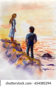 watercolor painting of a girl and a boy on the seashore