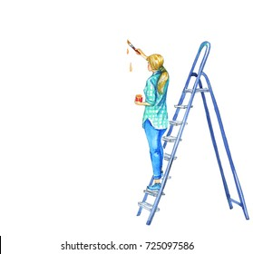 Watercolor painting girl decorator