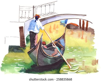 Watercolor painting of Gondola on canal in Venice on a sunny day.