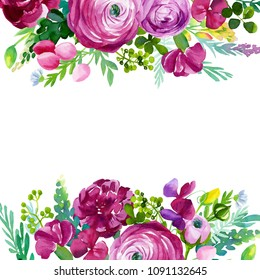 watercolor painting, hand drawing, abstract flowers, roses, ranunculus, sweet peas, carnations, leaves and buds, card with place for text