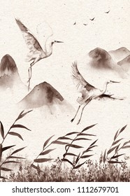 Watercolor painting.  Hand drawn illustration. Vintage mountains scene with white flying storks and reeds on old paper texture. Monochrome postcard  with serenity landscape and birds.