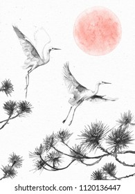 Watercolor painting.  Hand drawn illustration. Vintage dawn scene with white flying storks and pine branches on paper texture. Monochrome postcard with serenity landscape and birds.