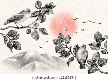 Watercolor painting. Hand drawn illustration. Nature scene with dawn and birds sitting on tree branches. Old paper texture. Monochrome vintage postcard with serenity landscape, mountains and birds.