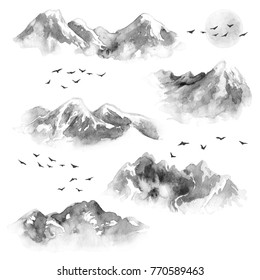 Watercolor painting. Hand drawn illustration. Set of ink mountains and flying birds. Nature landscape design elements. Monochrome moon and mountains with snow tops.