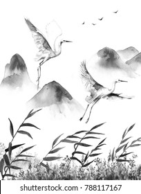 Watercolor painting.  Hand drawn illustration. Mountains scene with white flying storks  and reeds. Monochrome serenity landscape with birds.