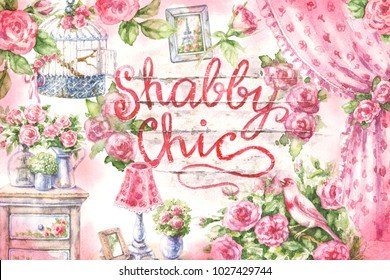 Watercolor painting. Hand drawn pink decor retro items. Old lamp, vase with flowers, vintage drape curtain, furniture, romantic picture, canary and roses. Inscription Shabby Chic on wooden background.