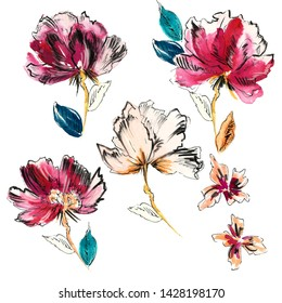 Watercolor Painting, Handmade Flower illustration for pattern, textile, fashion