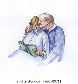 watercolor painting of a happy elderly couple reading a book