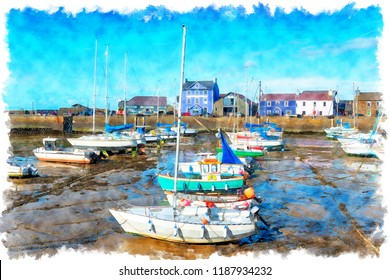 Watercolor painting of the harbour at Aberaeron, a small seaside town between Aberystwyth and Cardigan on the coast of Wales