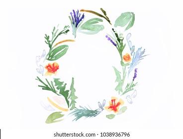 Watercolor painting - Herbal Wreath