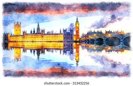 Watercolor painting of the houses of Parliament and Westminster Bridge under a fiery sunset sky