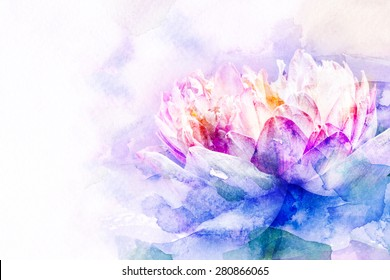 Watercolor painting illustration of blossom lotus. Artistic floral abstract background.