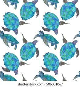 Watercolor painting illustration of sea turtles, handmade. Marine seamless pattern. A beautiful colorful background for your design of postcards, textiles, wallpaper.