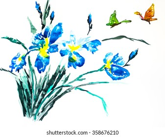Watercolor painting of an iris bouquet with two colorful butterflies