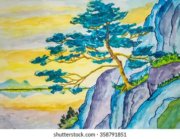 Watercolor painting of a japanese pine tree on a cliff over the lake