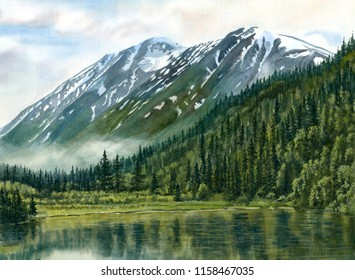 Watercolor painting landscape Alaska Jerome Lake morning fog
