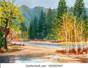 Watercolor Painting Landscape Merced River, Yosemite National Park in California