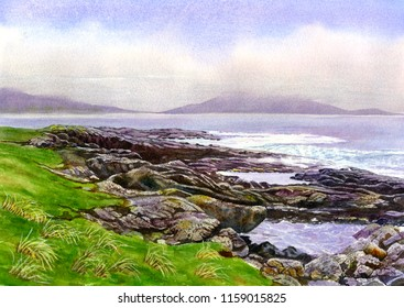 Watercolor painting landscape Scotland northwestern shore ocean rocks