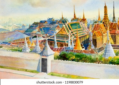 Watercolor painting landscape of visit tourism location beautiful Temple of the Emerald Buddha.