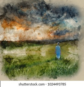 Watercolor painting of Landscape young boy walking through crop field at sunset