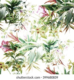 Watercolor painting of leaf and flowers, seamless pattern on white background