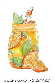 Watercolor painting Lemonade. Isolated on white. Watercolor sketch. Drawn by hand. Design for card, poster or wallpaper.