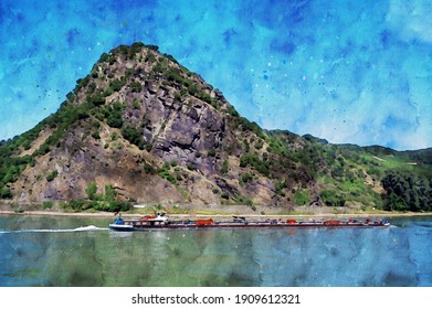 Watercolor painting of Lorelei rock at Rhine gorge in Germany.