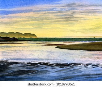 Watercolor Painting of Low Tide Sunrise Colors in the Bay