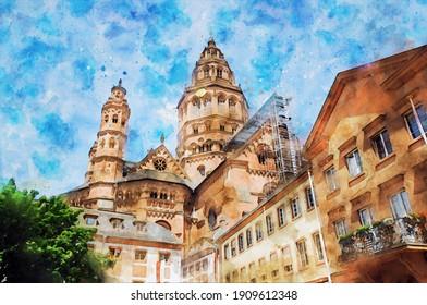 Aquarellmalerei der Mainzer Kathedrale in Deutschland.