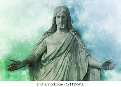 Watercolor painting of medieval church Statue of Jesus Christ with hands outstretched