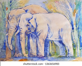 Watercolor Painting Mother and Baby Elephant
