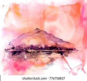 Watercolor painting. Nature, mountains, countryside, black, purple  silhouette of mountains, trees. Against the backdrop of a sunset red, burgundy, pink sky and sun, moon. Postcard,  poster, logo.
