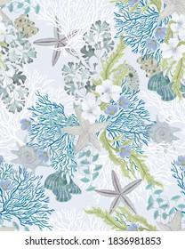 Watercolor painting nautical seamless pattern with seastar, flowers, corals, seaweed