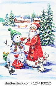 Watercolor painting: New Year postcard with Santa