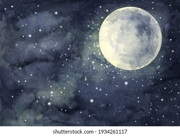 Watercolor painting of night sky with full moon and shining stars.