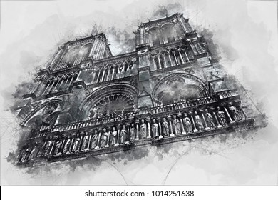 Watercolor painting of Notre Dame, the historic Catholic cathedral, one of the most visited monuments in Paris, France. Illustration on gray background.