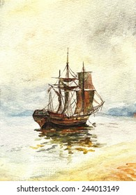 Watercolor painting of the old ship with sails