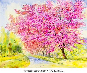 Watercolor painting original landscape purple,pink color of wild himalayan cherry in sky and cloud background