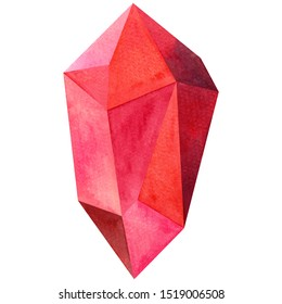 Watercolor painting pink orange red maroon ruby burgundy colors, colorful crystal,sapphire,minerals,quartz,topaz,agat,jade graphic.Watercolor hand draw topaz crystal isolated on white background.