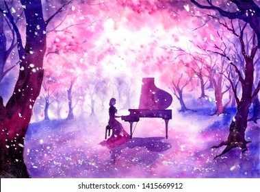 Watercolor Painting - Playing piano under blossom cherry tree