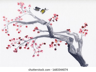 Watercolor painting with plum tree branch in bloom. Hand drawn oriental style landscape spring tree with red flowers & butterflies. Concept for decoration, relaxation, restore, meditation background.