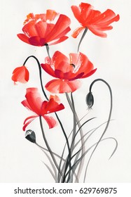 Watercolor painting of red poppies, decorative and stylish.