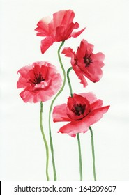 Watercolor painting of red poppies, original style painting.