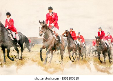 Watercolor painting of riders in red uniforms jumping a log fence at a fox hunt with spectators. Equestrian horse sport.