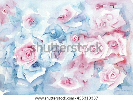 Watercolor painting roses delicate pastel background stock watercolor painting roses delicate pastel background with pink and blue flowers mightylinksfo