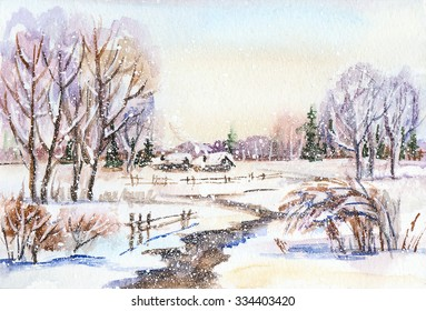 Watercolor painting: russian winter landscape