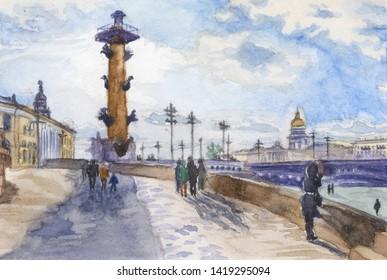 Watercolor painting - S Peterburg sunset